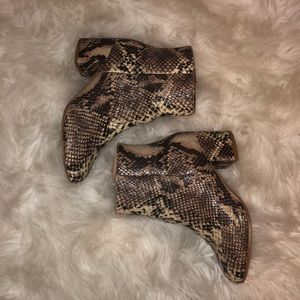Snakeskin ankle booties